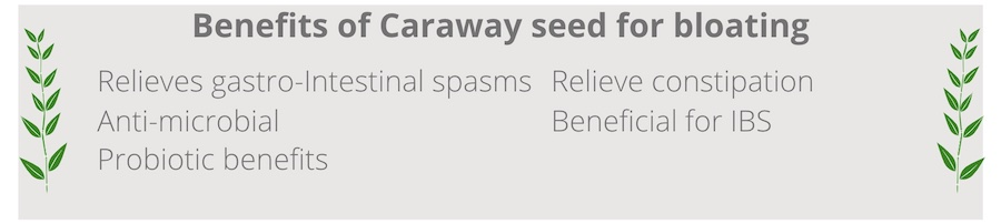 list of benefits of caraway seed for bloating