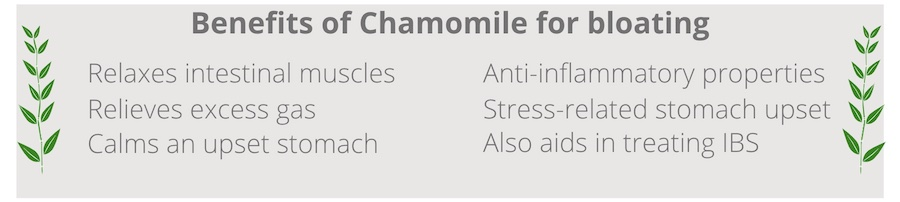 list of benefits of chamomile for bloating