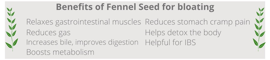 list of benefits of fennel seed for bloating