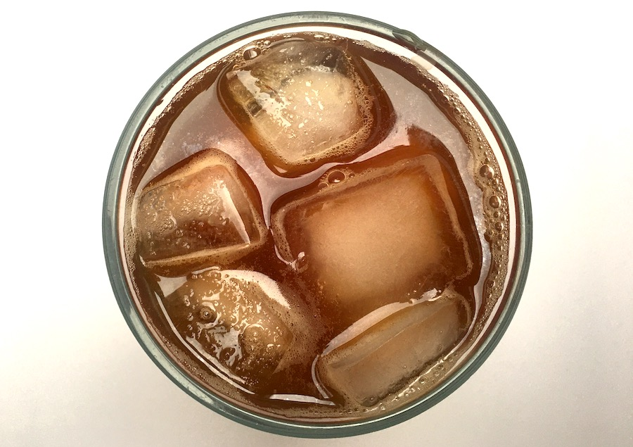 top view of iced tea in a glass cup